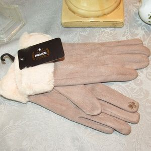 SOLID FUR TRIM TOUCH SCREEN GLOVES 576820